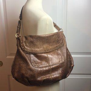 Maxx New York Lg Croc Leather Hobo Shoulder Bag